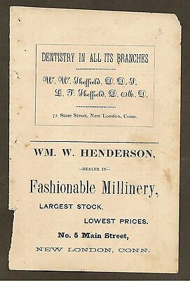Vintage Ad For Wm. W. Henderson Fashionable Millinery New London, Ct 1878