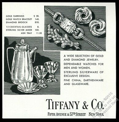 1943 Tiffany's silver cocktail shaker glasses jewelry vintage print ad