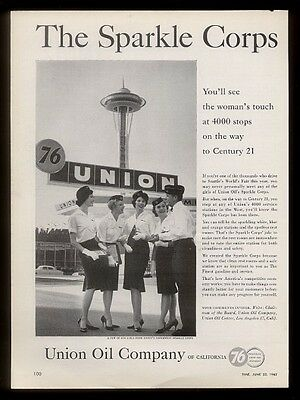 1962 Seattle Space Needle & Sparkle Corps girls photo Union 76 gas station ad