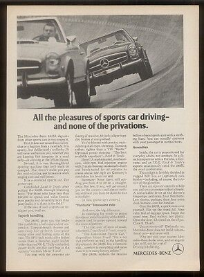 1970 Mercedes-Benz 280SL cars on test track wall pic ad