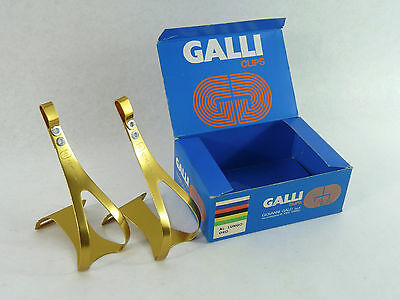 Galli Toe Clips Large Gold Anodized Alloy Oro Vintage Road Bike Eroica NOS