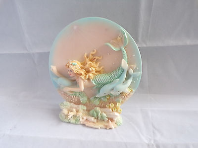 Pretty Mermaid Holding Dolphin Plate & Stand Ceramic