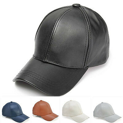 New Men Women Faux Leather Black Adjustable Casual Sport Baseball Golf Cap Hat