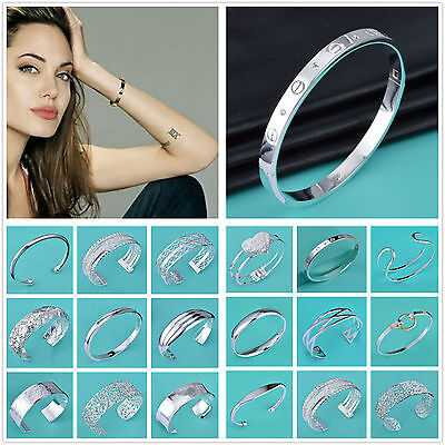 Wholesale Fashion Jewellery Solid 925Silver Bracelet/bangle Lady Mens + Gift box