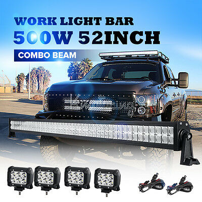 52inch 1566W PHILIPS Curved Spot&Flood Triple Row LED Work Light Bar 4WD Truck