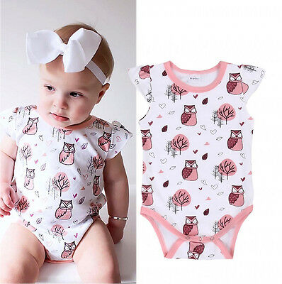 Newborn Baby Girls Owl Print One-pieces Romper Bodysuit Jumpsuit Outfits Clothes