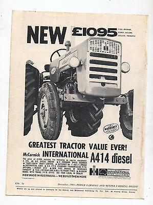 International A414 Tractor Advertisement removed from 1963 Farming Magazine