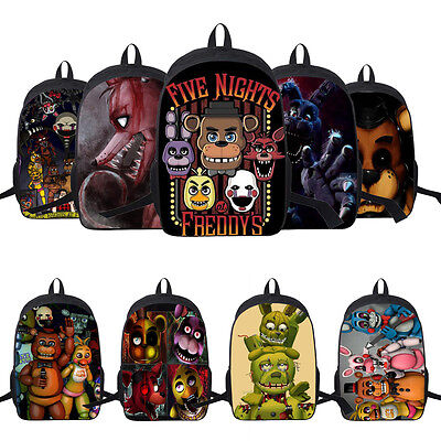 "17"" Five Nights At Freddy's FNAF Backpack Chica Bonnie Rucksack Latop School Bag"