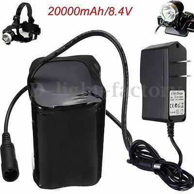 20000mAh 8.4V Bike Lamp 4 X 26650 Battery Pack Rechargeable Power Torch DC Light