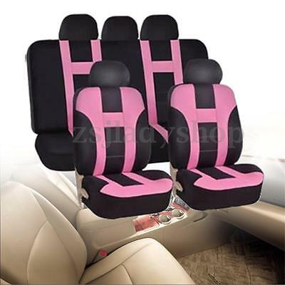 Universal Pink Car Seat Covers Protectors Full 9 Piece Set Washable Front Rear