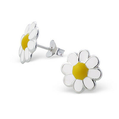 Sterling Silver Stud Earrings-White Daisy Flower Studs 10mm Free Gift Box-925