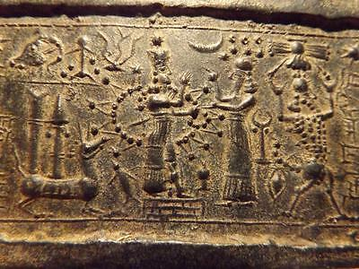 Ishtar - Mesopotamia - Assyrian cylinder seal impression. Astronomical motif