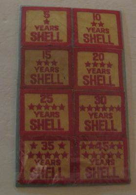 8 Scarce Vintage Shell Gas & Oil 5 - 45 Years Service  Advertising Cloth Patches