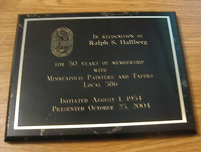Vintage Minneapolis Painters & Tapers Local 386 Trade Union 50 Year Plaque Sign
