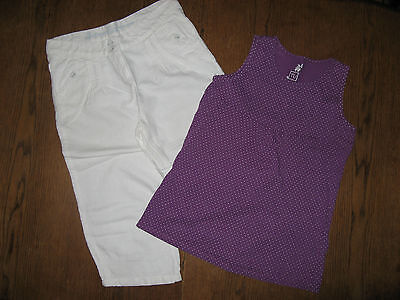 Tu Purple Top & White Cropped Trousers Outfit Set size 12 years (11-12 years)