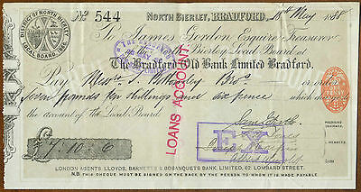 1888 Cheque : The Bradford Old Bank Limited : North Bierley
