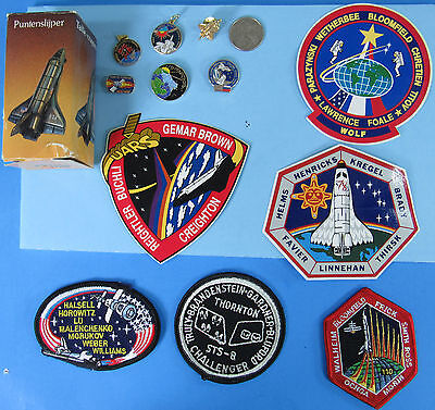 NASA LOT of 13 vtg '90s Space Shuttle Pencil Sharpener Patch Pin Sticker STS-8