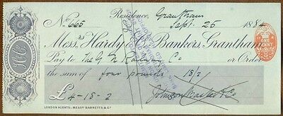 1884 Cheque : Messrs Hardy & Co. Bankers, Grantham : Great Northern Railway
