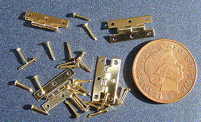 1:12 Scale 2 Brass Hinges & Pins Tumdee Dolls House Miniature DIY Accessory 672