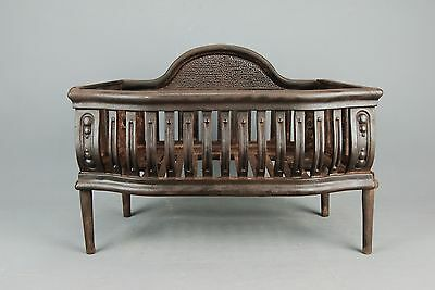 Antique Victorian cast Iron FIREPLACE COAL BASKET WOOD LOG GRATE late19th c