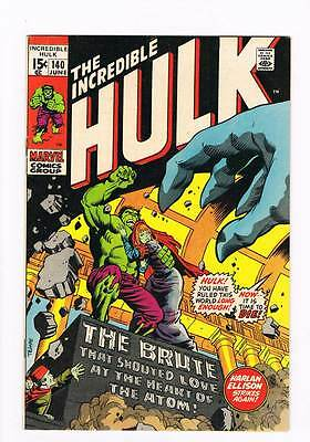 Incredible Hulk # 140  The Brute that Shouted Love !  grade 8.0 hot book !!