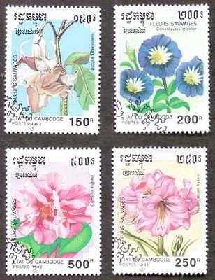 CAMBODIA/KAMPUCHEA (37/1) 1993 Flowers 4 Diff. Stamps ! Gift Children !