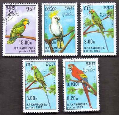CAMBODIA/KAMPUCHEA (26/1) 1989 Parrots Birds 5 Diff. Stamps ! Gift Children!
