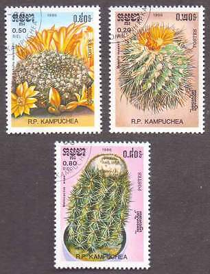 CAMBODIA/KAMPUCHEA (12/1) 1986 Cactus Flowers 3 Diff. Stamps ! Gift Children !