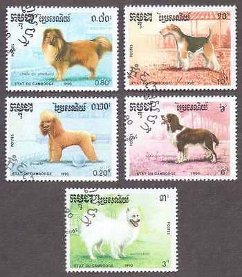 CAMBODIA/KAMPUCHEA (31/1) 1990 Dogs Animals 5 Diff. Stamps ! Gift Children !