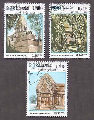 CAMBODIA/KAMPUCHEA (01/1) 1983 Archaeology Temple 3 Diff. Stamps! Gift Children!