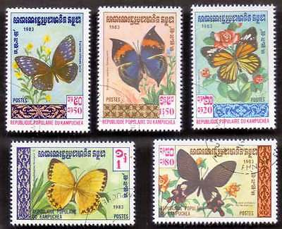 CAMBODIA/KAMPUCHEA (02/1) 1983 Butterfly Temple 5 Diff. Stamps ! Gift Children !