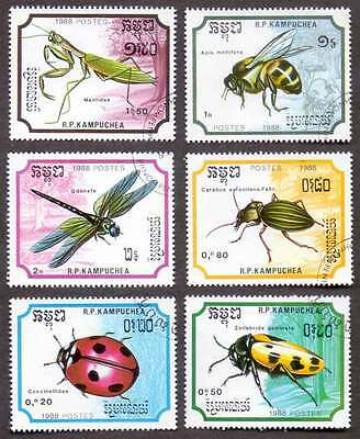 CAMBODIA/KAMPUCHEA (20/1) 1988 Insects Bugs 6 Diff. Stamps ! Gift Children !