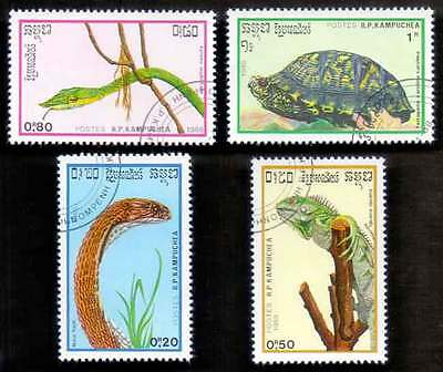 CAMBODIA/KAMPUCHEA (21/1) 1988 Reptiles Snakes Turtle 4 Diff. Stamps !