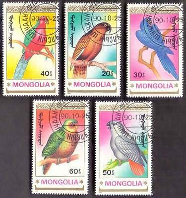 MONGOLIA (12/1) 1990 Birds Parrots 5 Diff. Stamps ! Gift Your Children !