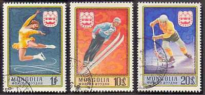 MONGOLIA (42/1) 1975 Olympic Games Sports Skiing 3 Diff. Stamps! Gift Children!