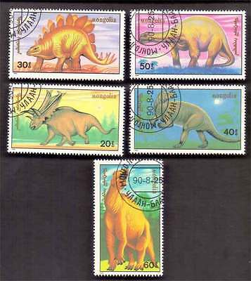 MONGOLIA (37/1) 1990 Dinosaur Pre-His Animals 5 Diff. Stamps ! Gift Children !