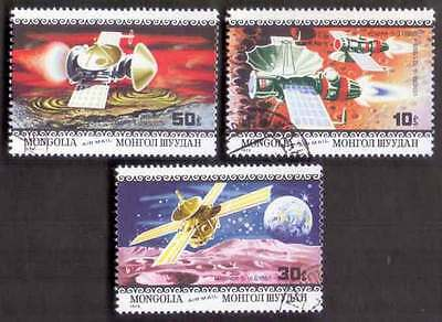 MONGOLIA (38/1) 1979 Space Science Satellites 3 Diff. Stamps ! Gift Children !