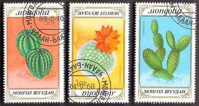 MONGOLIA (14/1) 1989 Cactus Flowers 3 Diff. Stamps ! Gift Your Children !