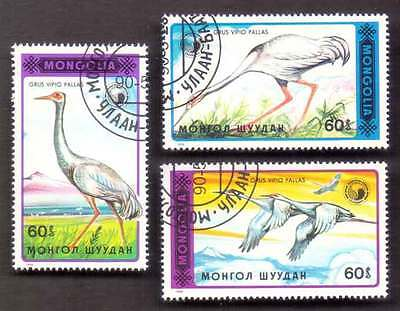 MONGOLIA (44/1) 1990 Birds of Prey Herons Crone 3 Diff. Stamps ! Gift Children!