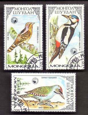 MONGOLIA (08/1) 1987 Birds 3 Diff. Stamps ! Gift Your Children !