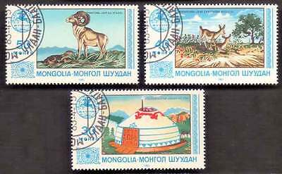 MONGOLIA (01/1) 1983 Animals Deer Temple 3 Diff. Stamps ! Gift Your Children !