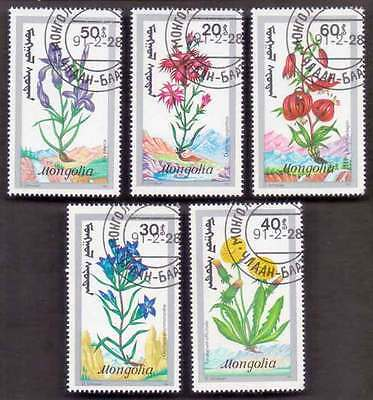 MONGOLIA (21/1) 1991 Flowers 5 Diff. Stamps ! Gift Your Children !