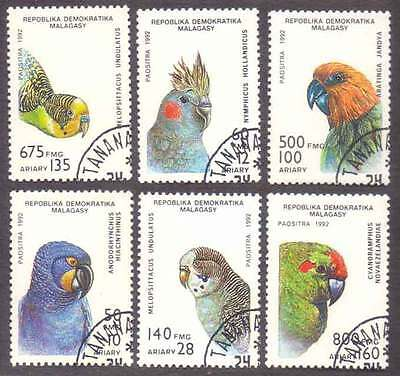 MALAGASY/MADAGASCAR (03/1) 1992 Parrots Birds 6 Diff. Stamps ! Gift Children !