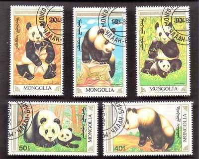 MONGOLIA (04/1) 1990 Animals Panda 5 Diff. Stamps ! Gift Your Children !