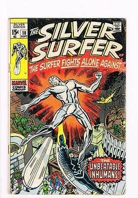 Silver Surfer # 18  The Surfer vs the Inhumans !   grade 4.5 scarce book !!