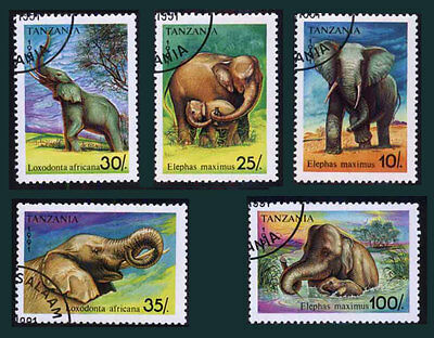 TANZANIA (02/1) 1991 Elephants Animals Used 6 diff. Stamps ! Gift Children !