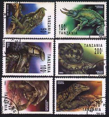 TANZANIA (10/1) 1993 Reptiles, Snakes, Turtles Used 6 diff. Stamps !