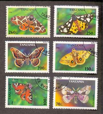TANZANIA (22/1) 1996 Butterfly, Moth Used 6 diff. Stamps ! Gift Your Children !