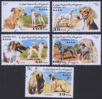SAHARA (27/1) 1996 Dogs Domestic Animal Used 5 diff. Stamps ! Gift Children !