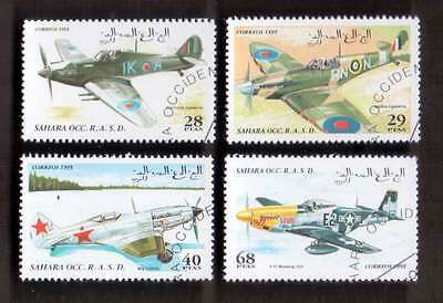 SAHARA (15/1) 1995 Aeroplanes Aircrafts Used 4 diff. Stamps ! Gift Children !